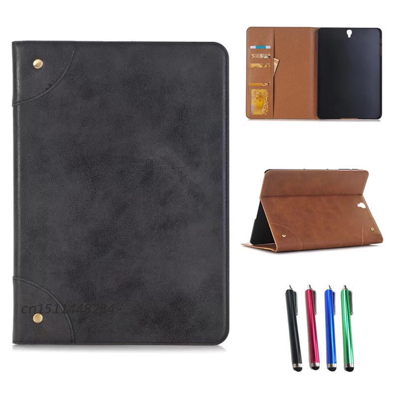 2017 New Retro business stand protective shell cover For Samsung Galaxy Tab S3 9.7 SM-T820 T825 PU leather Smart Magnetic case luxury flip stand case for samsung galaxy tab 3 10 1 p5200 p5210 p5220 tablet 10 1 inch pu leather protective cover for tab3