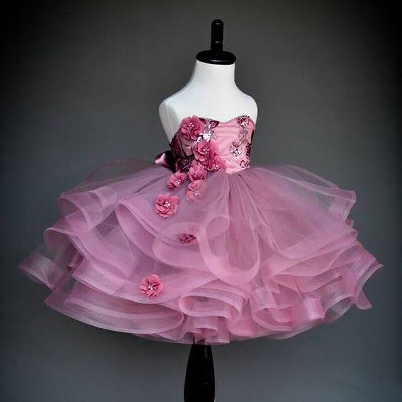 Luxo Rosa Fúcsia 2017 Sweety Menina Peagant Menina do Aniversário Vestido de Celebridade No Tapete Vermelho vestido de Baile High End Vestidos Da Menina de Flor