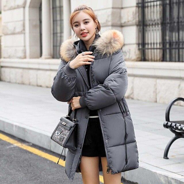 zozowang 2018 New yellow Winter Jacket Women Parka Fake Fur Collar Down Wadded Female outerwear Cotton-Padded Jackets Women Coat 1