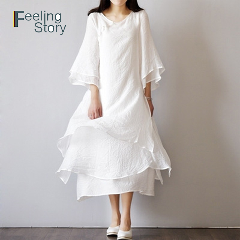 US $13.06 42% OFF|Sundress White Summer Dress Cotton Linen Long Dresses for  Woman Elegant Plus Size Long Sleeve Maxi Dress Summer Dresses Casual-in ...