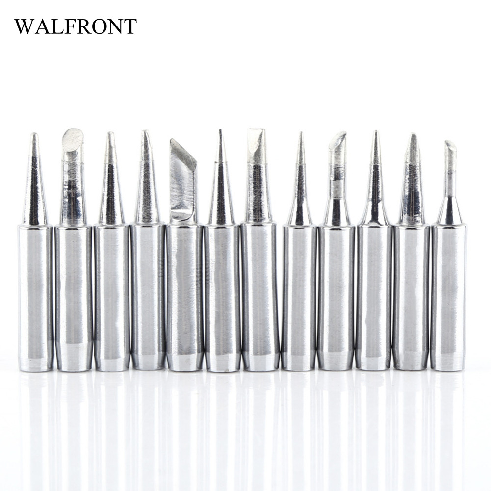 WALFRONT 12pcs/Lot Soldering Iron Tips Pointed Lead-free Electric Welding Iron Head Screwdriver Solder Rework Repair Tools Set