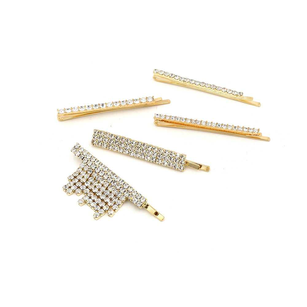 Купить с кэшбэком Fashion Crystal Hairpin Rhinestones Hair Clips Metal Barrettes Hairpins Headwear Hair Accessories Hair Clips for Women Girl