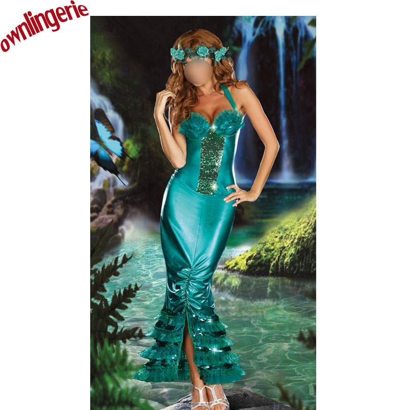 Sexy Christmas Tree Costume Green Mermaid Queen Fancy Dress Halloween Masquerade Party Green Fairy Cosplay Outfit Fancy Dress Up
