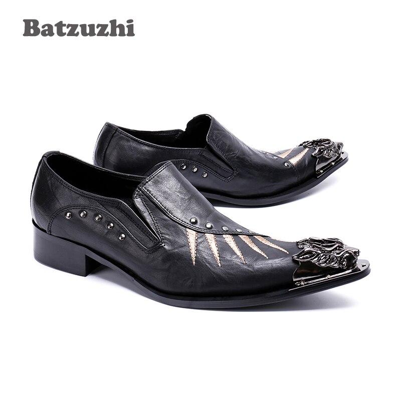 07ca1c591fc803 Diseñador Pisos Batzuzhi Señaló Vestir Japonés De Oxford Negocios Metal  Hombres Punta Cuero Negro Genuino Guapos Zapatos ZwUZ6q