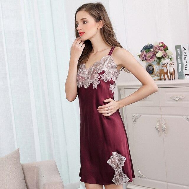 XL noche de seda ropa de dormir de las mujeres 2017 la moda de nueva marca de verano mujer de encaje sexy vino rojo mini de seda camisones sleepshirts mujer