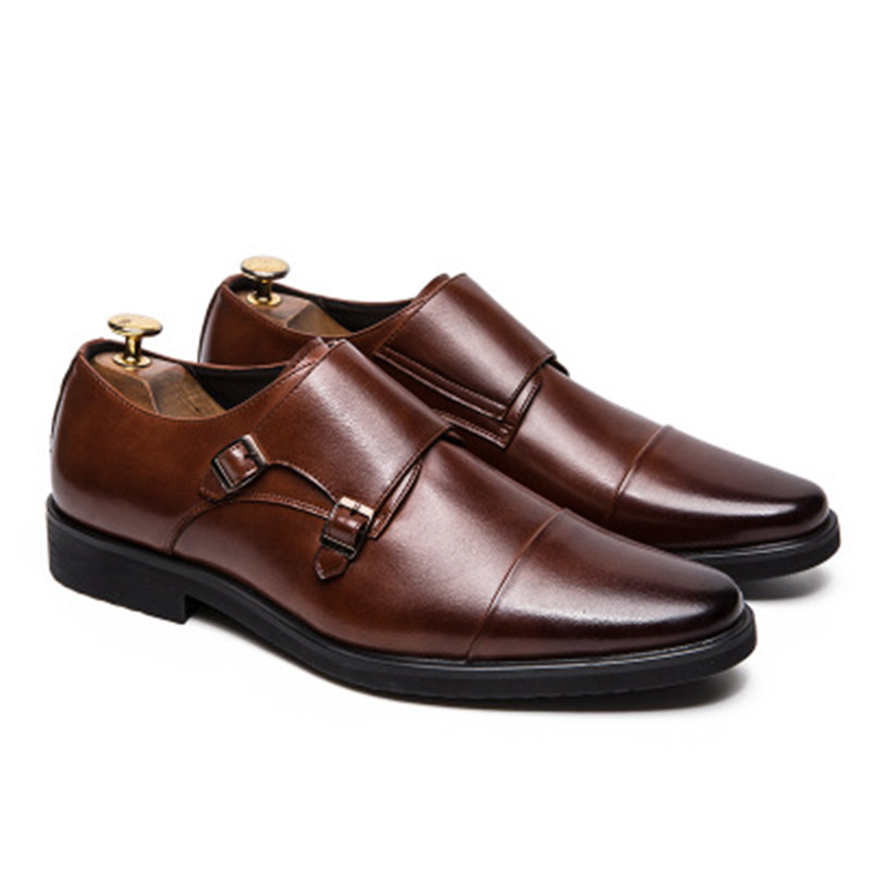Zapatos De Monje Noir Hombre Estilo Vestir Pie Dedo Del Casquillo cognac Monk Oxford Doble Para Correa t57UqU