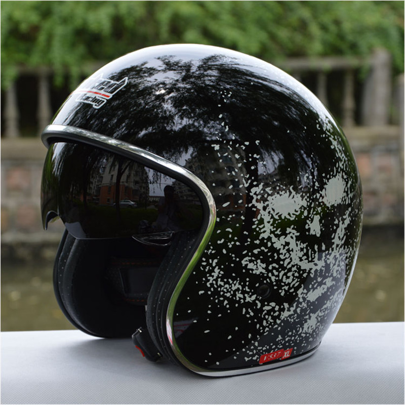 free shipping casco capacete tanked racing 3 4 open face retro vintage helmet interior lens. Black Bedroom Furniture Sets. Home Design Ideas
