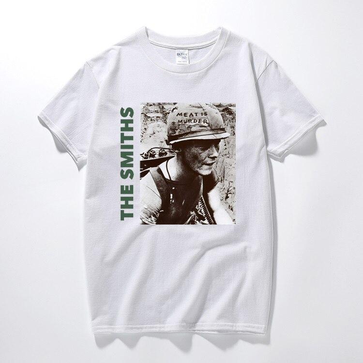 The smiths t camisa topo inglês rock band carne é assassinato 1985 morrissey marr algodão de manga curta o pescoço t-shirts tamanho euro