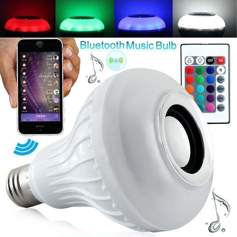 Colorful Wireless 12W Power E26 LED rgb Bluetooth Speaker Bulb Light Lamp Music Playing & RGB Lighting w/ Remote Control speaker bluetooth led rgb light music large bulb lamp color changing via wifi app control mp3 player wireless bluetooth speaker