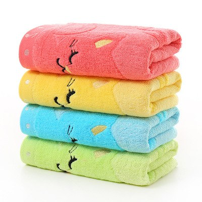 DIDIHOU 4 Color Musical Notes Small Towel Bamboo Fiber Music Cat Soft Towel Children's Jacquard Embroidered Wool Towels
