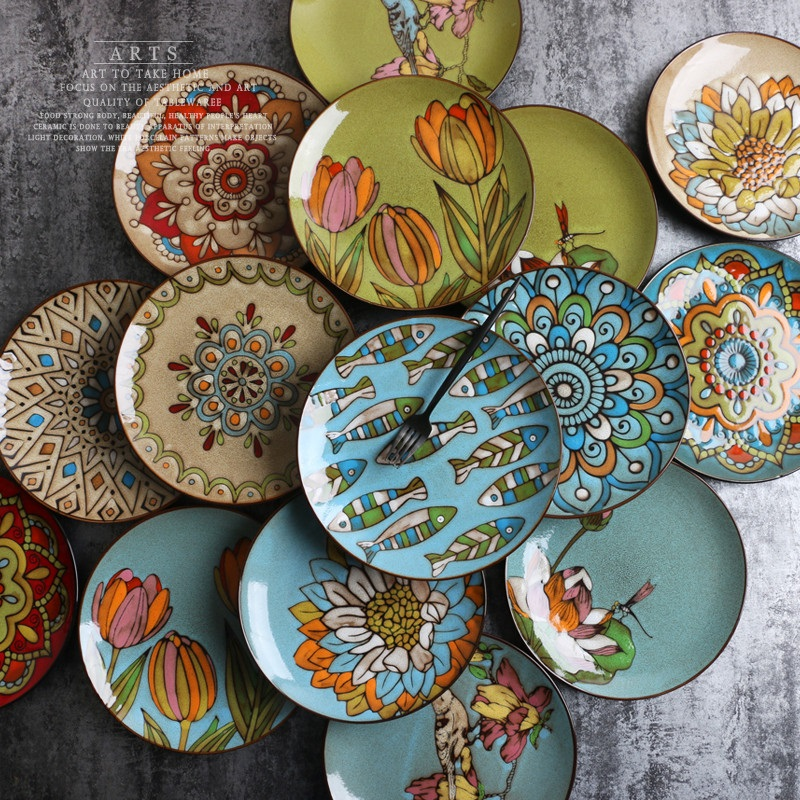 Creative Hand Painted Ceramic Dishes Set Under Glaze