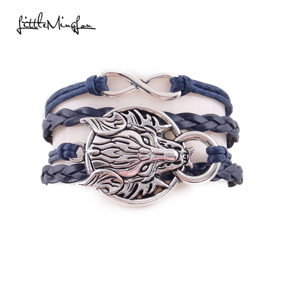 Sedikit MingLou Baru Infinity Naga Gelang Naga Matahari Serigala kepala Charm pria kulit bungkus gelang & gelang untuk Wanita perhiasan