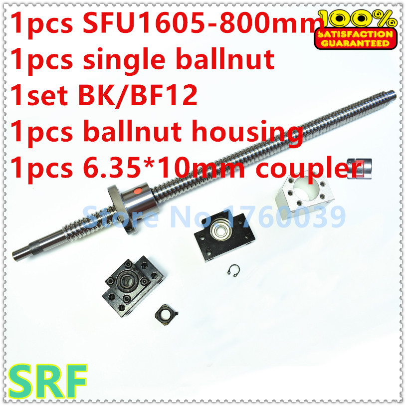 16mm Rolled Ballscrew RM1605 sets:1pcs SFU1605 L=800mm +1pcs single ballnut +1set BK/BF12 end support +1pcs coupler