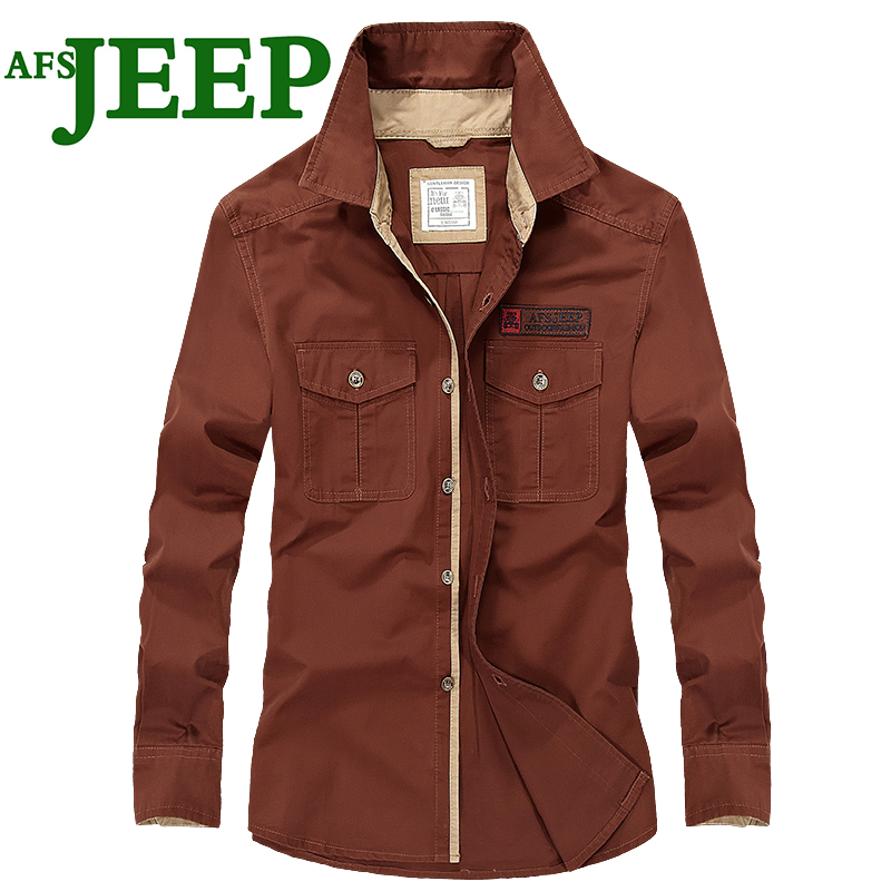AFS JEEP Men's Personality Cotton Men Shirts Office Long Sleeve Fashion Brand High Quality Male Luxury Army Dress Men Shirts 75