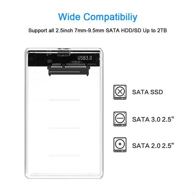 CHIPAL Transparent 2.5 inch HDD SSD Case Sata to USB 3.0 Adapter Free 5 Gbps Box Hard Drive Enclosure Support 2TB UASP Protocol