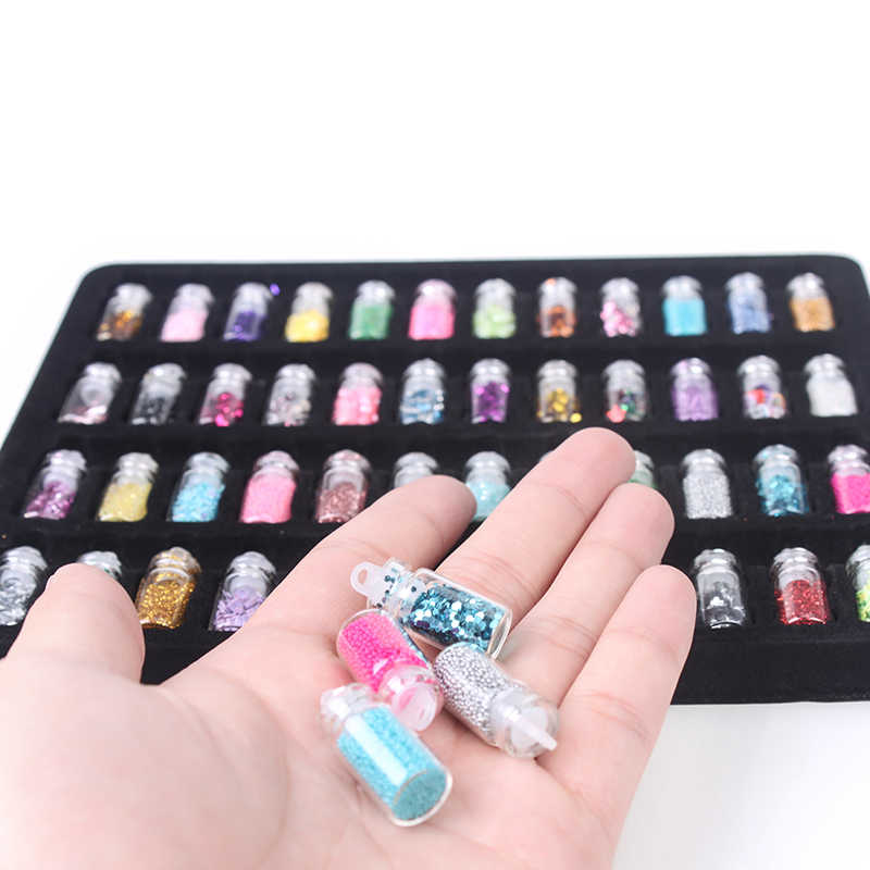 48 b ottles / batch DIY n ail art charm set contains random n ail art pearl sequins n ails acrylic color random