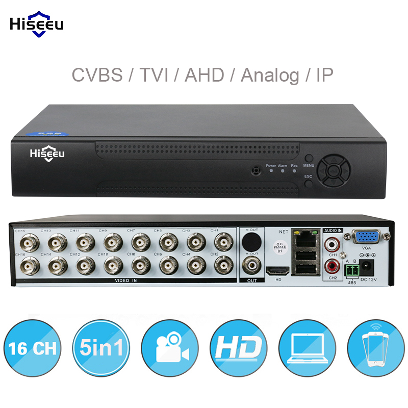 16CH 5in1 TVI AHD AHD DVR supporto CVBS Analogico Telecamere IP HD P2P Nube H.264 VGA HDMI video recorder RS485 Audio Hiseeu