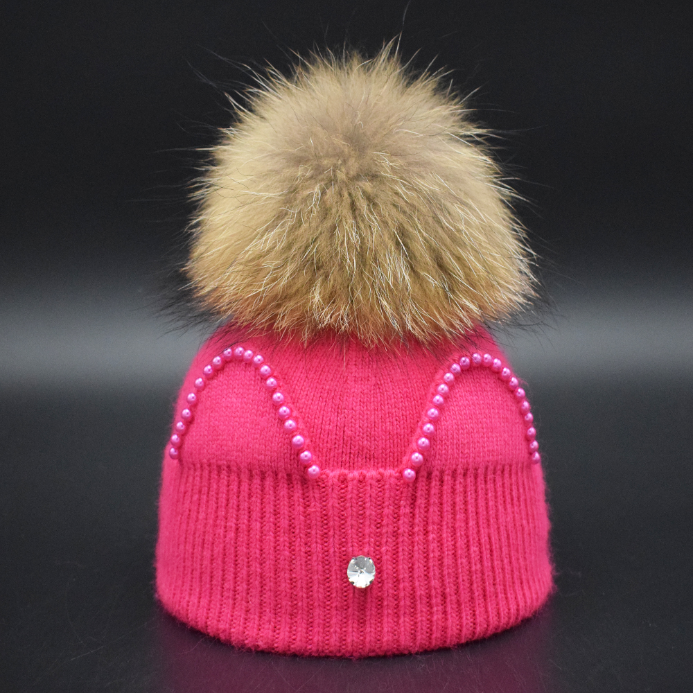 Newest Soft Wool Blend Knitted Cute Baby girls Ear Hat 9 Colors Multi-color Real Raccoon Fur PomPom Kids Cap Headwear Fur Ball new autumn winter warm children fur hat women parent child real raccoon hat with two tails mongolia fur hat cute round hat cap