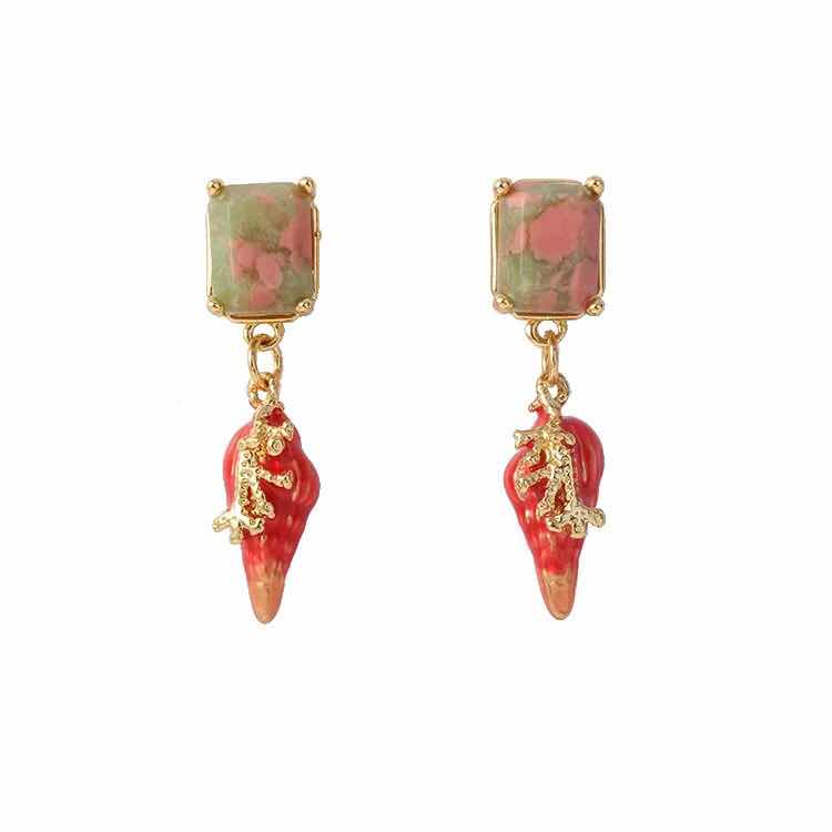 Amybaby UnderWater Ancient City Red Conch Stud Earring Jewelry Party