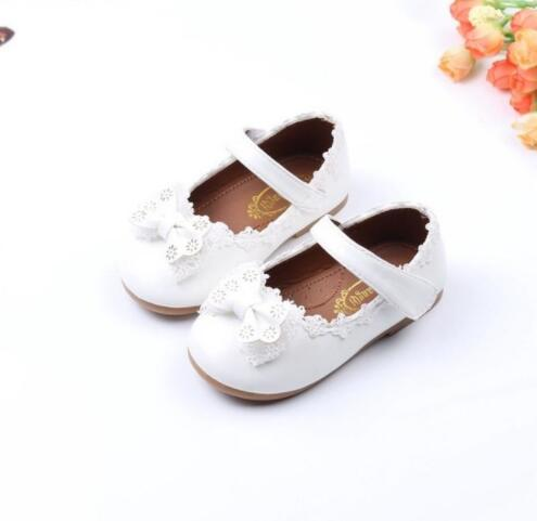 New Designs Girls Bow Shoes Insole 13.4-15.4cm New Baby Kid Girl Enfant Lace Bowknot Princess PU Leather Shoes