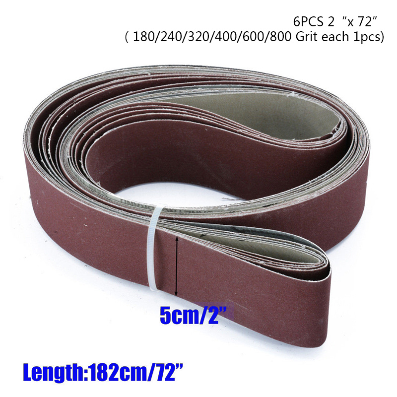 Hot Sale6pcs/Set 2 X 72 Fine Grit Sanding Belt Sandpaper Sander Abrasive Band 180, 240, 320, 400, 600, 800 Grit Sandpaper