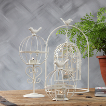 European style home simple bird iron birdcage carved retro candlestick candle decoration creative restaurant