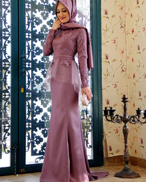 Elegant Long Sleeve Hijab Lace Muslim Evening prom gown 2018 vestido de  festa longo Arabic Formal mother of the bride dresses 4452ab02af8a
