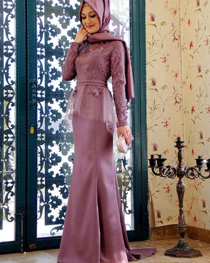 Detail Feedback Questions about Elegant Long Sleeve Hijab Lace Muslim  Evening prom gown 2018 vestido de festa longo Arabic Formal mother of the  bride ... 64eb25d0952f
