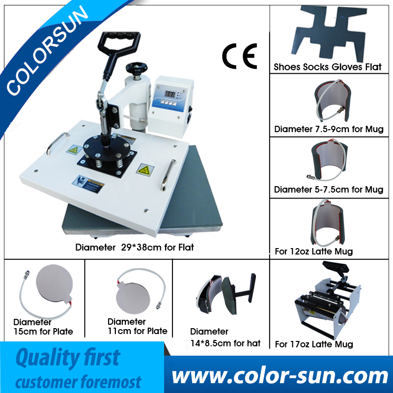 US $313 2 10% OFF|Combo multifunction 9 in 1 heat press machine for t  shirt/cap/mug/plate/phone case/shoe/shock/glove printing-in Printers from