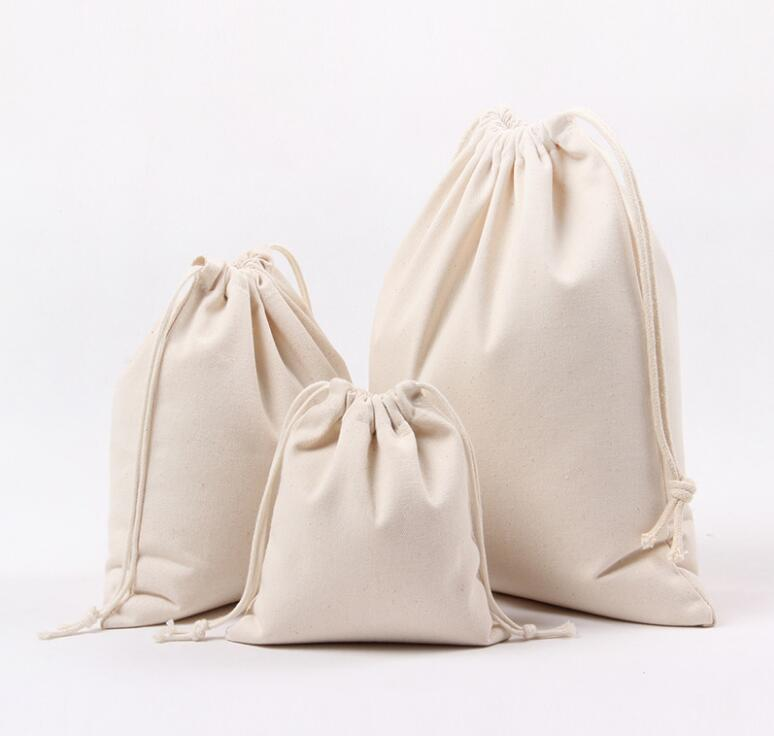 1 PCs Solid White Color Drawstring Bags Canvas Travel Storage Bags Organizer Bag For Clothing Child Toy Candy Tea Gift Bag Bolsa