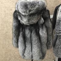 BFFUR Winter Natural Real Fox Fur Coat Luxlury Women Whole Skin Genuine Leather Female Jacket With Hood Silver Fox Fur Coat