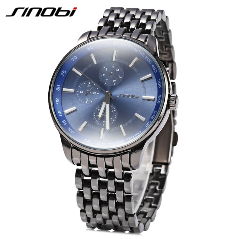 SINOBI Full Steel Quartz Watches Men Quartz-watch Black Clock Luxury Watch Men Famous Brand Male Wristwatch Erkek Kol Saati 2016 orkina fashion casual men clock black stainless steel case male watches japan quartz movement water resistant erkek kol saati