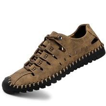 2019 New Summer Men Genuine Leather Sandals Business Casual Shoes Men Outdoor Beach Sandals Roman Men Water Shoes Size 38--46 все цены