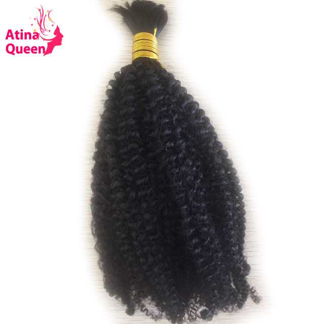 Atina Queen Afro Kinky Curly Human Hair Bulk For Braiding Non Remy