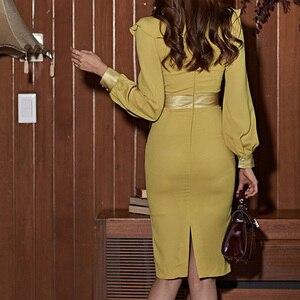 Image 5 - H Han Königin Laterne Hülse Rüschen Band Schärpen Kleid Frauen Herbst Koreanische Elegante Sexy Bleistift Kleider Bodycon Mantel Vestidos
