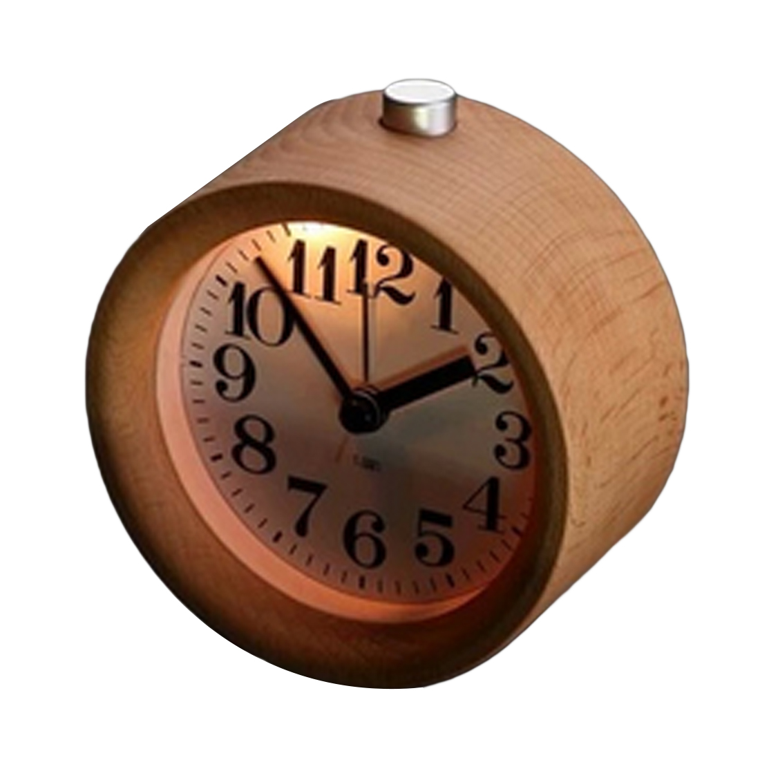 Wooden Alarm Clock Electronic Desktop Clock Digital Clock Circular No Ticking Snooze Backlight Wood Table Watch