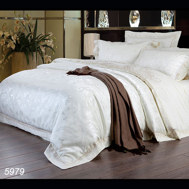 Cream/milk White Luxury Bedding Set Silky Bedspread AB Side Duvet Cover Pure  Cotton Bed