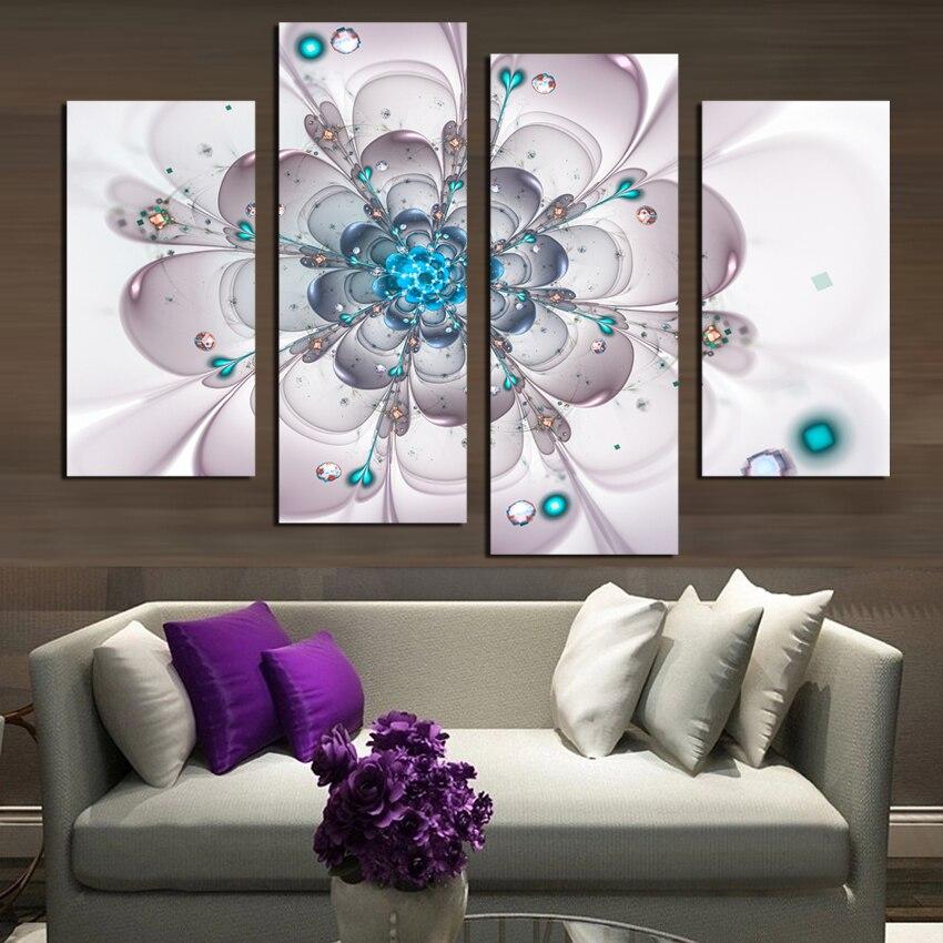 4pcs canvas painting flower simple cute paintings for - Simple canvas painting for living room ...