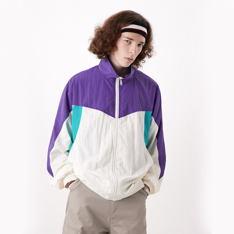 Полная молния полный боковой карман летняя легкая неоновая Мужская спортивная одежда цвет блокируется трек университетская куртка спорти