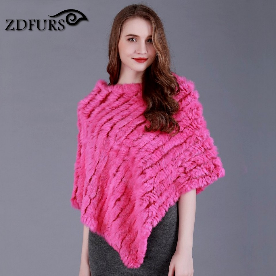 f77367450 ZDFURS * Winter Ladies' Genuine 100% Real Knitted Rabbit Fur Poncho Women  Fur Pashmina Wrap Female Party Pullover ZDKR 165001-in Scarves from Women's  ...