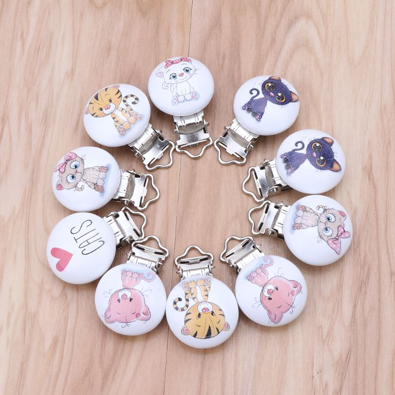 Hot Sell 5Pcs/Lot Baby Pacifier Clips Cats Printed Wood Metal Holder Clasps 4.4cm X 3cm