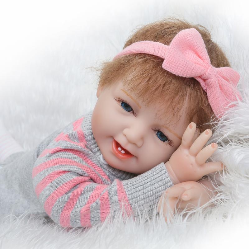 22''Handmade Lifelike Baby Girl Doll Silicone Vinyl Reborn Newborn Dolls+Clothes [sgdoll] 2017 new 22 lifelike reborn pink dress baby girl dolls silicone vinyl handmade w bottle toy doll 16070607