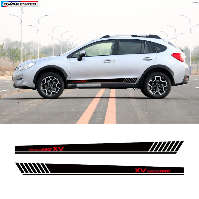 For Subaru XV AWD Sport Side Skirt Stripes Car Styling Door Decor Stickers Auto Body Customized Vinyl Decal Exterior Accessories