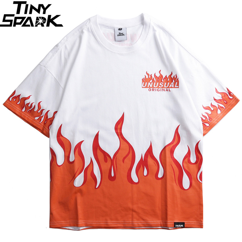 2019 Harajuku T Shirt Fire Flame Hip Hop Men Tshirt Streetwear Summer Cotton Tops Tees HipHop Fashion T-Shirt Short Sleeve New
