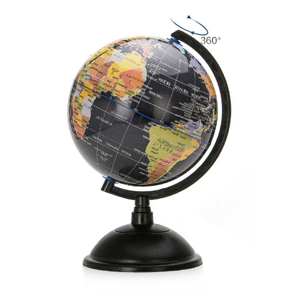 20cm World Globe Map With Swivel Stand Geography Educational Toy Enhance Knowledge Of Earth And Geography Black