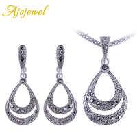 Ajojewel Women's Black Rhinestone Water Drop Retro Vintage Jewelry Set Ladies Earring And Necklace Sets