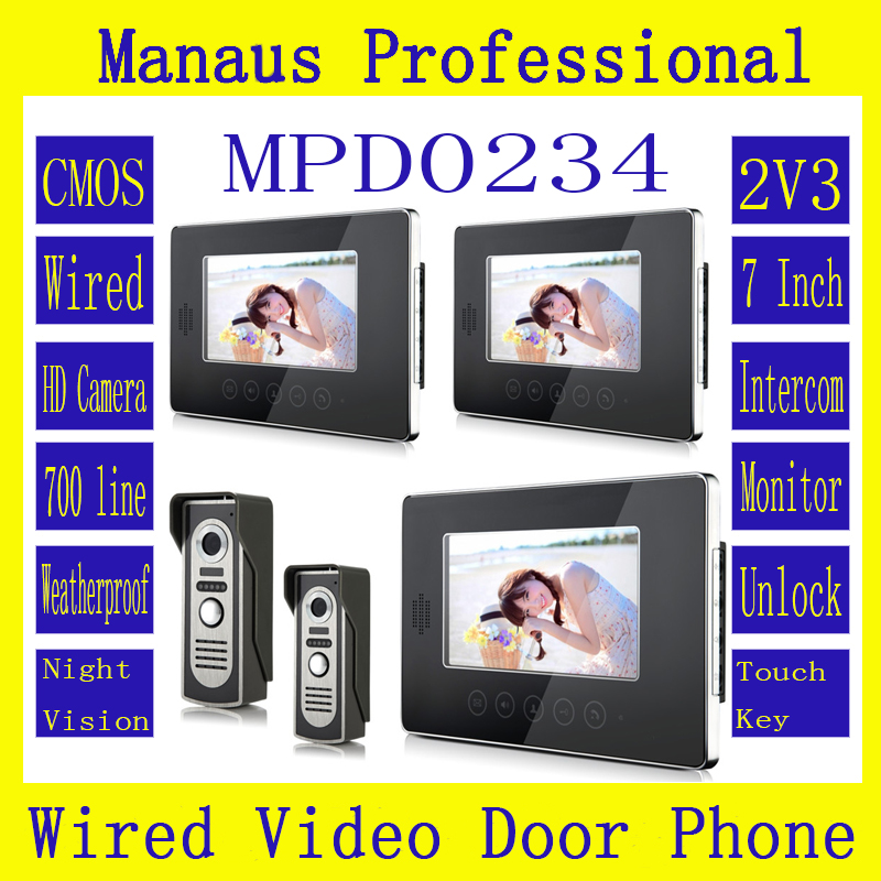 7 Inch Screen Keypad Display Video Intercom System D234b  High Quality Wired Magnetic Lock Two To Three Video Doorphone Device