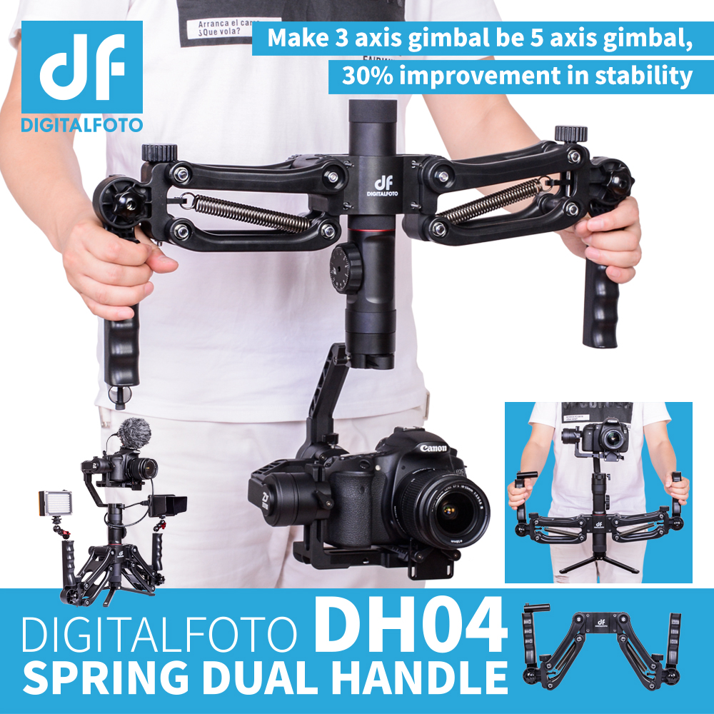 DH04 4.5KG load 3 axis Gimbal Spring Dual Handle Grip for RONIN S Zhiyun Smooth 4 Crane 2 Crane Plus Feiyu AK2000 AK4000 smallrig universal camera grip wooden side handle for ronin s for zhiyun crane series handheld gimbal 2222