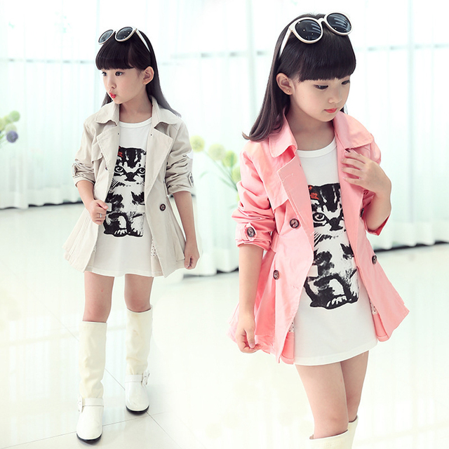 30c74127e Girls Trench Coat Spring 2018 Children Clothing Kids Blazer Jackets ...
