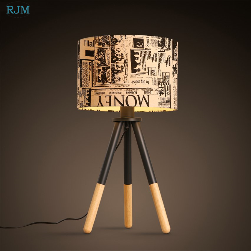 American Vintage Tripod Table Lamp Fabric Lampshade Wooden Desk Light for Living Room Bedside Study Home Lighting Fixtures DecorAmerican Vintage Tripod Table Lamp Fabric Lampshade Wooden Desk Light for Living Room Bedside Study Home Lighting Fixtures Decor